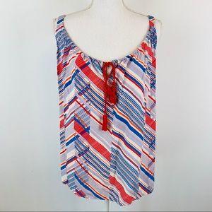 Cabi Red Blue White Striped Tassel Tank Top L